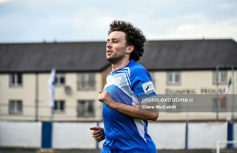 Barry McNamee with the Harps goal