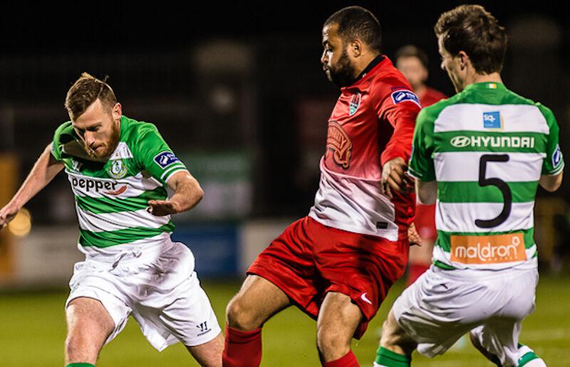 Kieran Djilali in action for Cork City against Shamrock Rovers