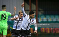 Patrick Hoban of Dundalk celebrates his goal during the Premier Division match between Dundalk and Finn Harps at Oriel Park back in March that Harps won 2-1