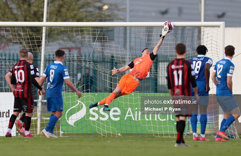 Paul Martin of Waterford saves from a free kick from Tyreke Wilson which rebounded from the cross bar and into the path of Rob Cornwall of Bohs to score