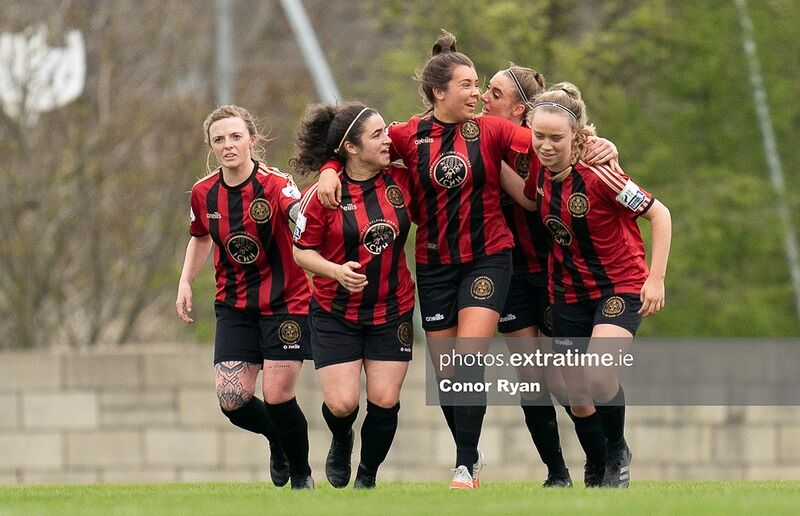 Bohemians captain Sophie Watters (centre) celebrates her side's fourth goal during a 6-2 win over Treaty United at the Oscar Traynor Complex on March 27th, 2021.