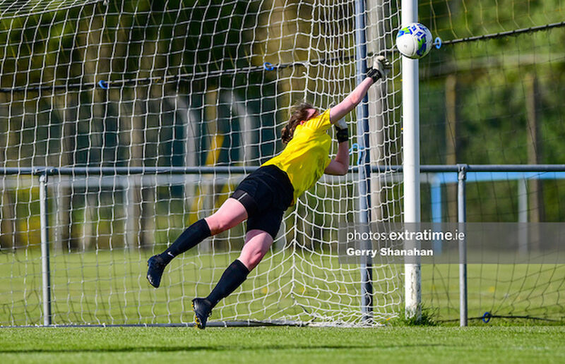 Athlone Town WFC goalkeeper Abbiegayle Royanne makes one of many great saves during the Peamount United v Athlone Town game