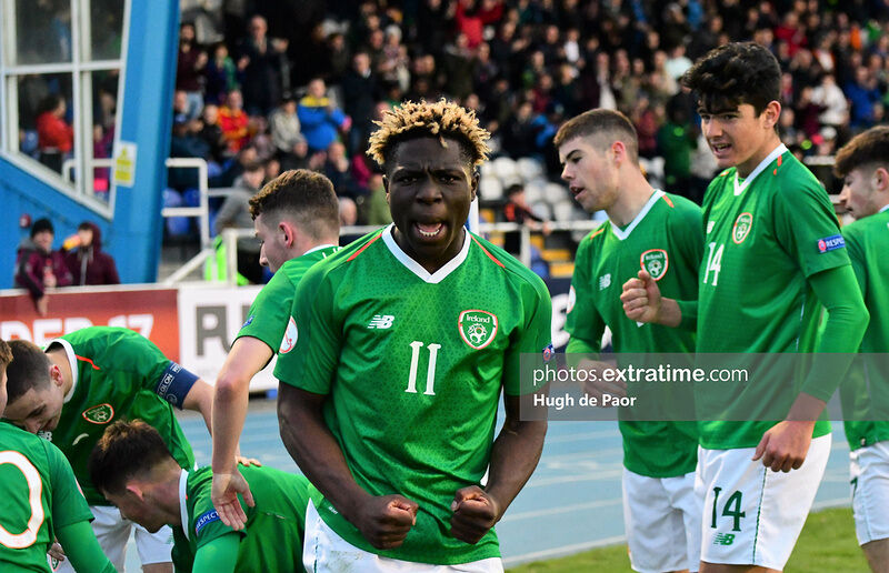 Festy Ebosele celebrates a Republic of Ireland goal during a 2019 under-17 European Championships game with the Czech Republic.