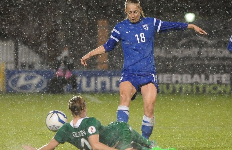 Linda Sallstrom of Finland vies for the ball with the Republic of Ireland's Louise Quinn during their opening Euro 2017 qualifier at Tallaght Stadium on September 22nd, 2015.