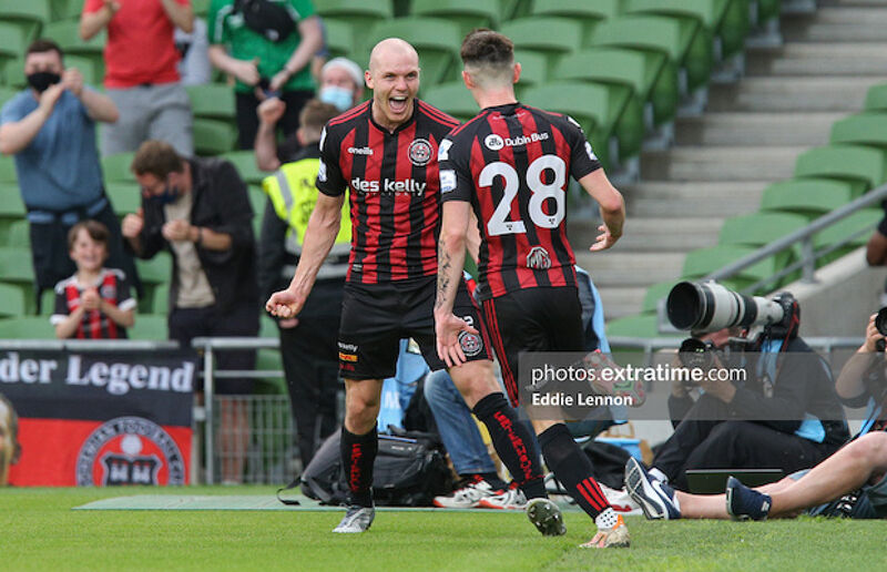 Georgie Kelly celebrates with Dawson Devoy in the Aviva in the Europa Conference League qualifiers