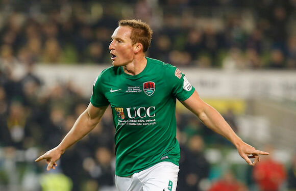 Achille Campion celebrating his goal for Cork City in the FAI Cup Final