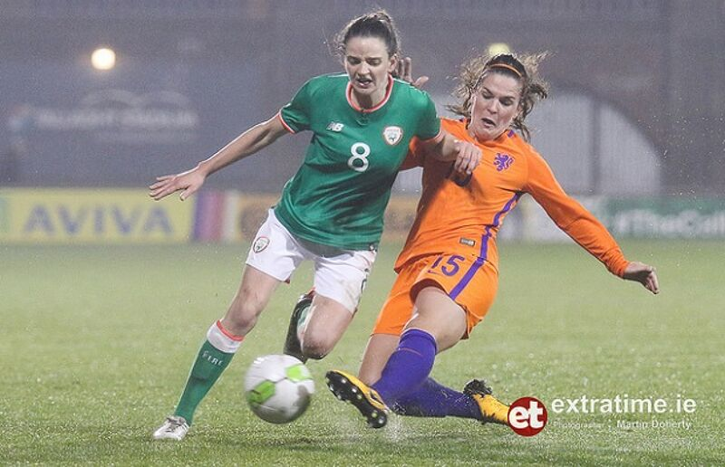 Leanne Kiernan is tackled by Siri Worm of the Netherlands during a World Cup qualifier in Tallaght in April 2018.