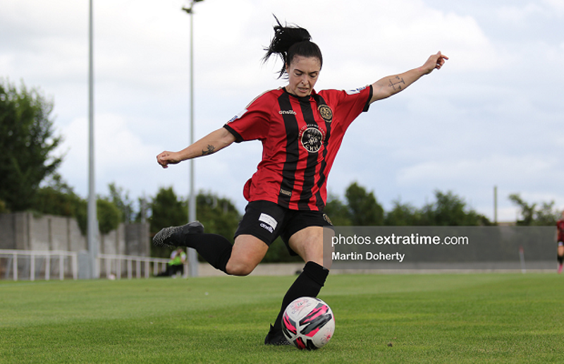 Abbie Brophy on the ball for Bohemians during their 2-0 win over Cork City at the Oscar Traynor Centre on Saturday, 11 September 2021.