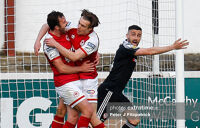Danny Lafferty of Derry protests after Robbie Benson's goal for the Athletic