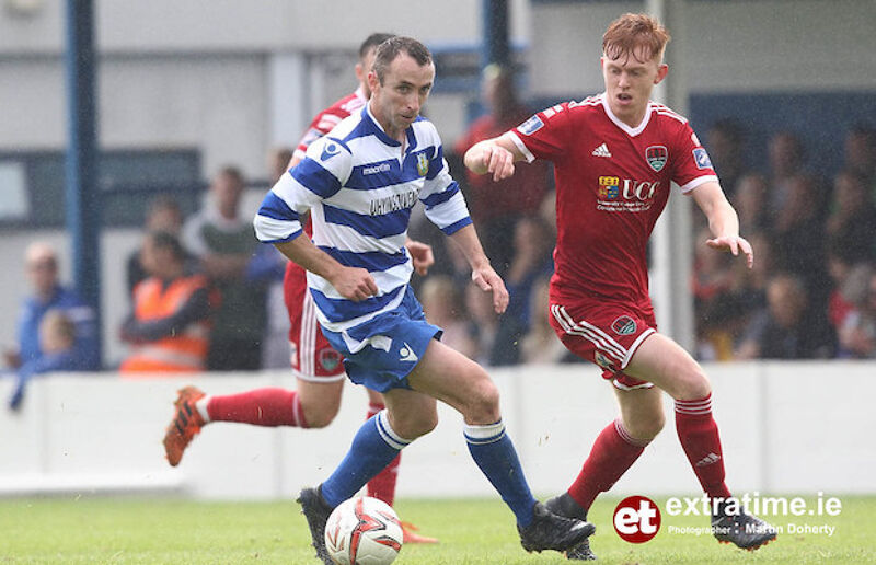Ollie Cahill playing for Home Farm in the 2018 FAI Cup against his former club Cork City