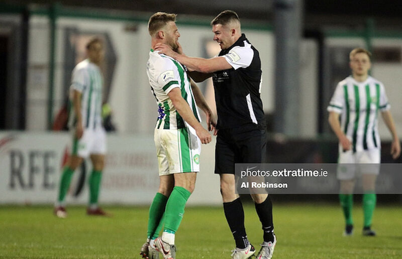 Shane Barnes of Athlone Town and Conor Clifford of Bray Wanderers angry after poor challenge