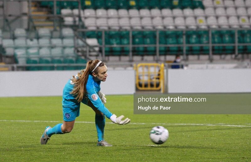 Grace Moloney rolls the ball out during the Republic of Ireland's fixture with Germany.