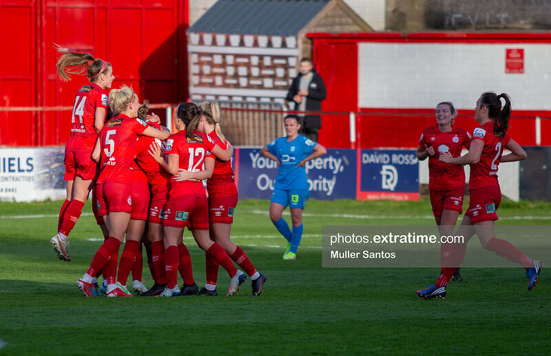Shelbourne celebrate the only goal of the game against DLR in front of the TG4 cameras