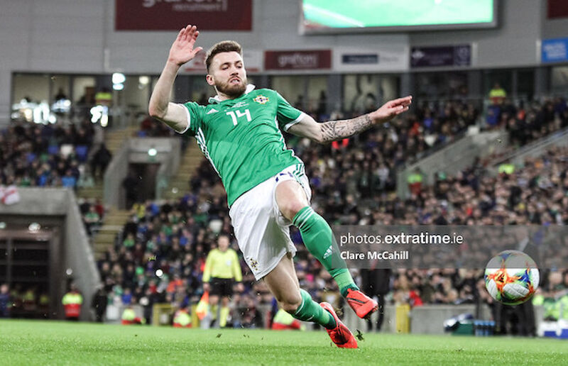 Stuart Dallas of Northern Ireland during their 2-1 win over Belarus in 2019
