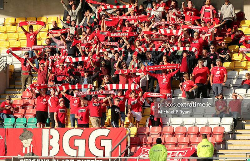 SK Brann fans in Tallaght Stadium for the 2019 UEFA Europa League qualifier
