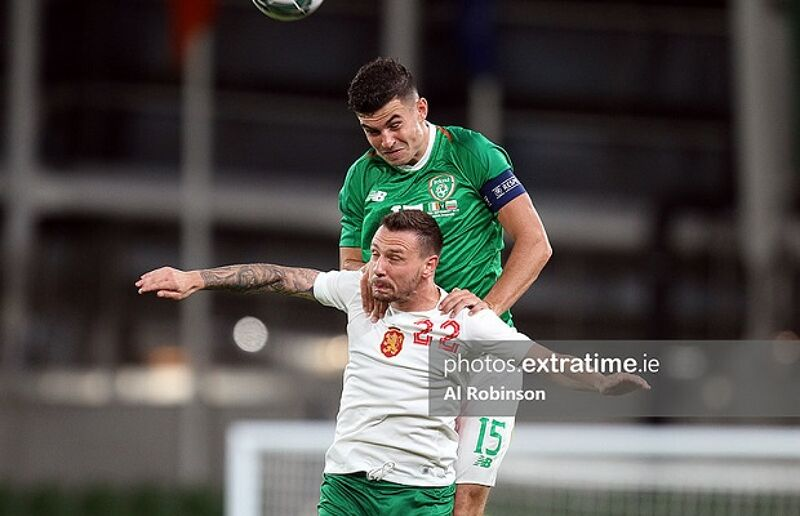 John Egan competes for a header during Ireland's 3-1 friendly win over Bulgaria in 2019.