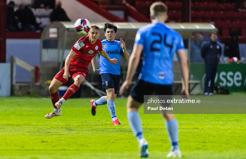 Shels' Brian McManus shoots goal wards against the Students in Tolka Park