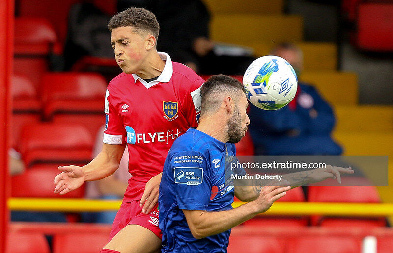 Jaze Kabia in action for Shelbourne against Waterford during the 2020 Premier Division season.