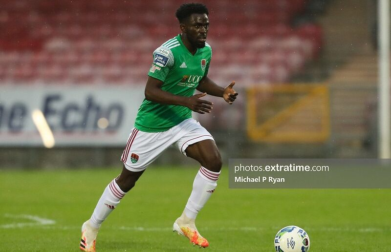 Henry Ochieng in action last season for then Premier Division side Cork City.