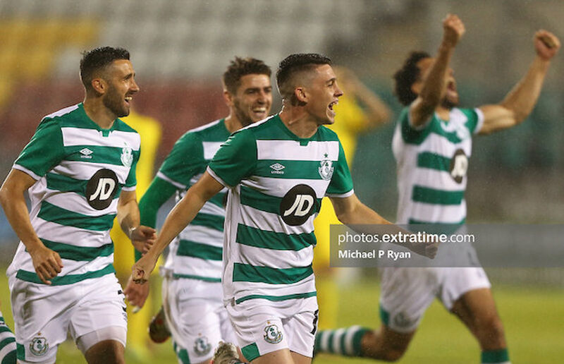 Shamrock Rovers celebrate their penalty shootout win over Ilves Tampere