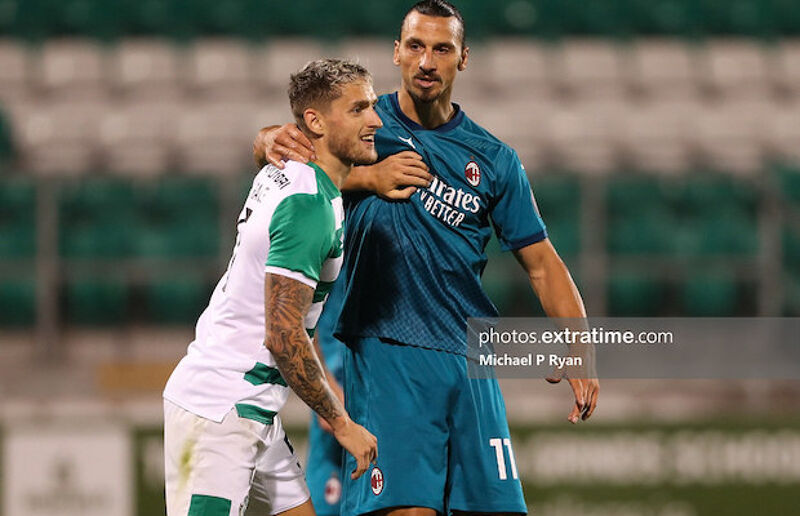 Lee Grace battles with Zlatan Ibrahimovic during Rovers' Europa League qualifier in 2020