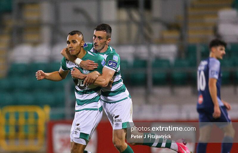 Graham Burke celebrates scoring against Sligo Rovers last month