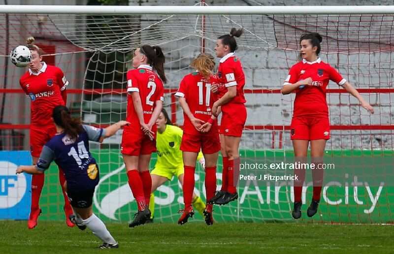 Shelbourne players jump to stop a free-kick during their 5-0 win over Galway at Tolka Park on November 7th, 2020.