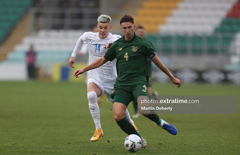 Conor Masterson in action for the Republic of Ireland under-21s against Iceland.