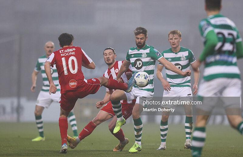 Greg Bolger in action for Shamrock Rovers last season against Sligo Rovers