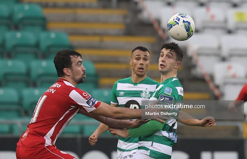 Action from today's game between Shamrock Rovers and Sligo Rovers.