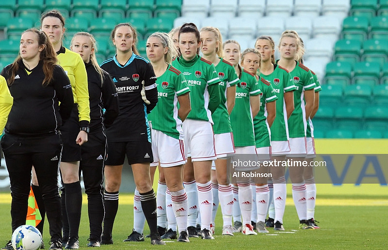 Cork City line up ahead of the 2021 FAI Cup final againt Peamount United on December 12, 2020.