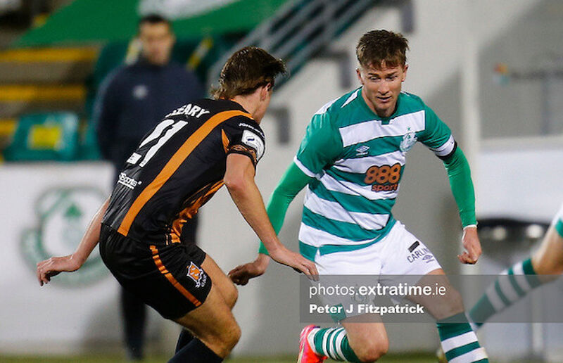 Ronan Finn of Shamrock Rovers in action against Daniel Cleary of Dundalk
