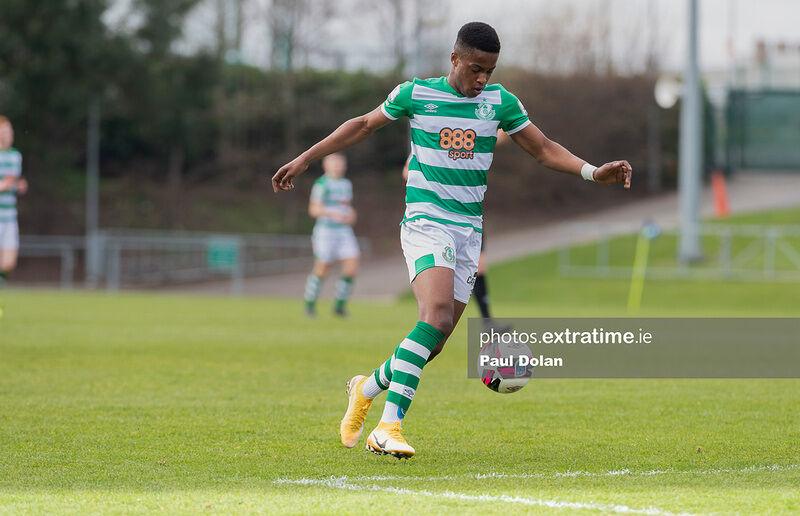 Aidomo Emakhu of Shamrock Rovers playing in a pre-season friendly