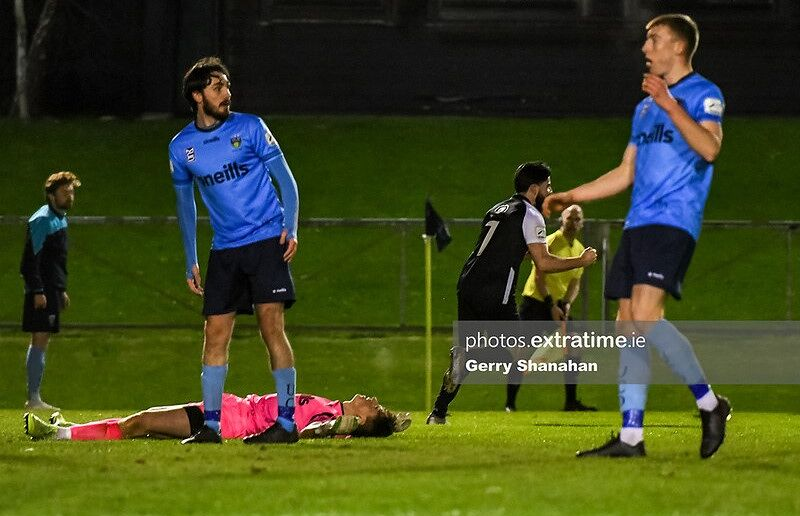 Adam Wixted of Athlone Town, runs away after scoring a late equalizer with stunned UCD players wathcing on, during the UCD v Athlone Town, Eirtricity 1st Division match at UCD Bowl , Dublin.
