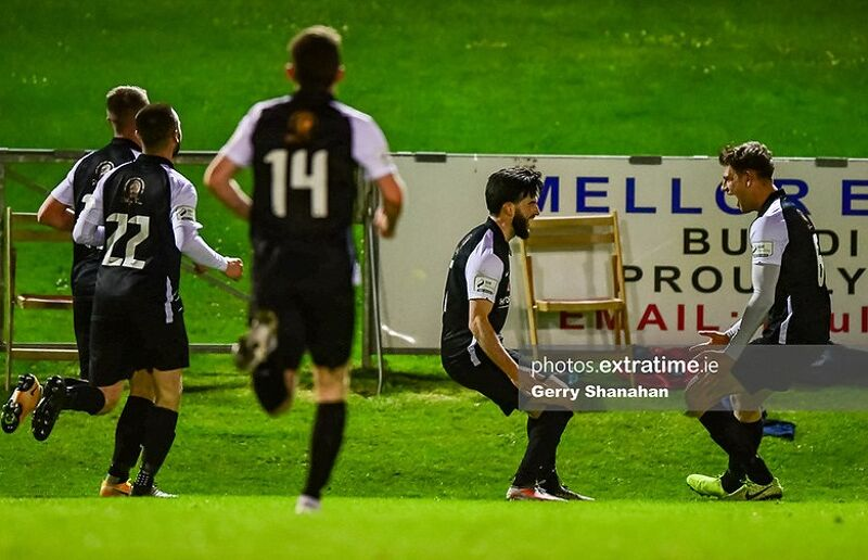 Adam Wixted of Athlone Town, celebrates his equalizing goal, during Athlone's draw with UCD last weekend.
