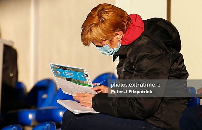 Ireland boss Vera Pauw pictured at UCD last weekend taking in a WNL match.
