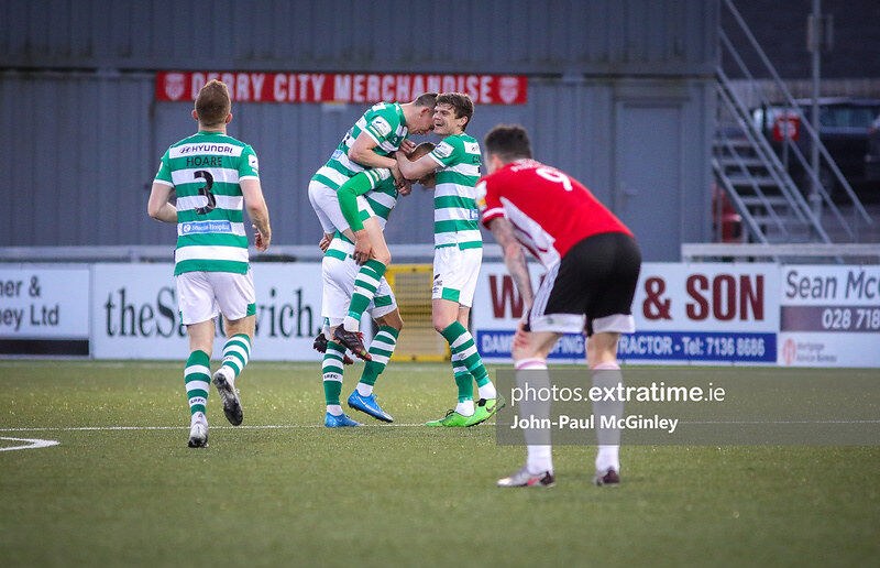 Graham Burke scored a stunning goal from the half way line in Derry