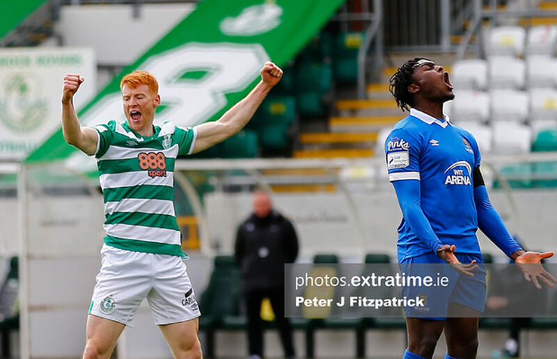 Rory Gaffney celebrates scoring against Waterford in April