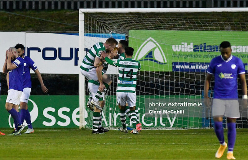 Celebration for Shamrock Rovers after Rory Gaffney scores against Harps in April