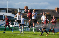 Georgie Kelly heads the ball in Bohs' 5-1 win over Dundalk last May