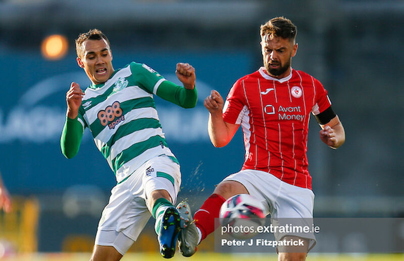 Graham Burke clashes with Sligo Rovers' Greg Bolger