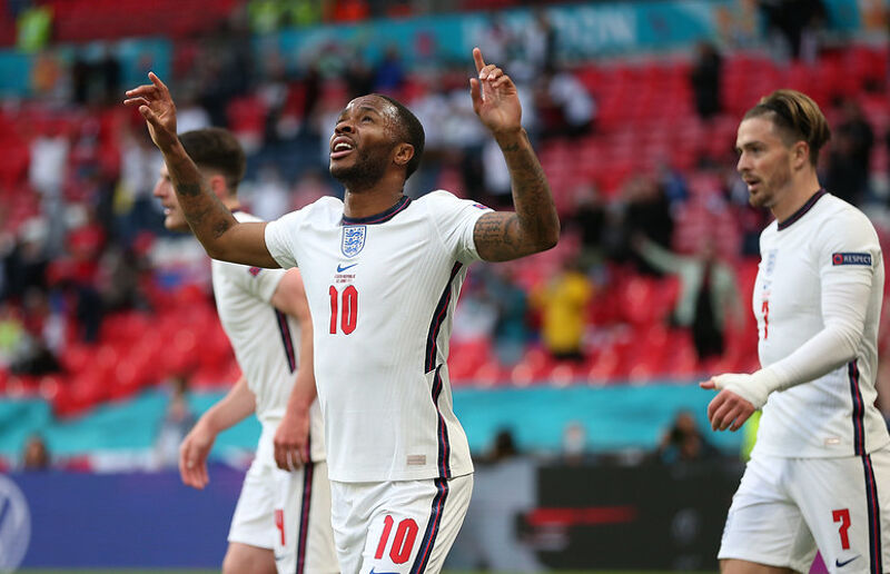 Raheem Sterling of England celebrates after scoring their team's first goal during the UEFA Euro 2020 Championship Group D match between Czech Republic and England at Wembley Stadium on June 22, 2021 in London, England