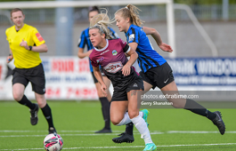 Emmily Corbet, of Athlone Town and Galway WFC's Savannah McCarthy, in action, during the Athlone Town v Galway WFC WNL match at Athlone Town Stadium, Athlone on Saturday, 3 August 2021.