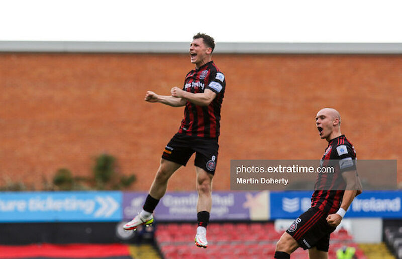 Ali Coote celebrating his goal against Shamrock Rovers in the second round of the FAI Cup
