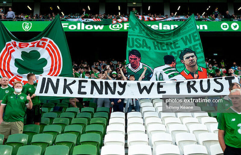 Ireland fans show their support for Stephen Kenny aread of last mont's match against Serbia