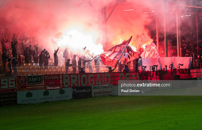 Shelbourne fans celebrate as their team win the 2021 First Division