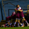 Darragh Mackey of Drogheda celebrates his goal with teammates during the SSE Airtricity League Premier Division match between Drogheda United and Longford Town at Head In The Game Park, Drogheda on 15 October 2021.