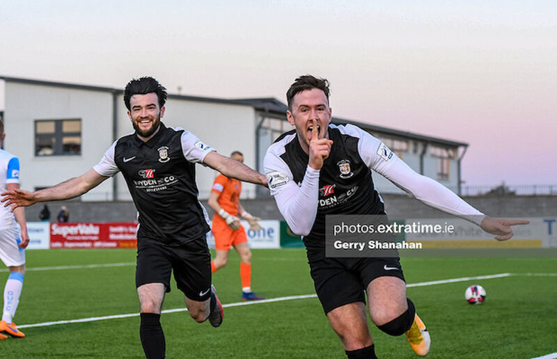 Athlone Town's, Stephan Meaney celebrates scoring his sides second goal with Adam Wixted