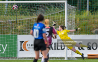 Athlone Town goalkeeper Abbiegayle Ronayne dives to make a save but can't deny Chloe Singleton the opening goal as Galway win 2-1 at Lissywollen on Tuesday, 3 August 2021.
