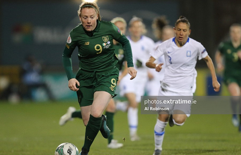 Amber Barrett in action for the Republic of Ireland Women's National Team.